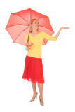 Woman Checking for Rain Stock Images