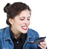 Woman checking teeth Royalty Free Stock Image
