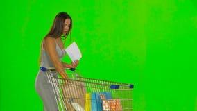 Woman checks the shopping list. Green screen stock video footage