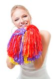 Woman cheer leader. With Pompoms Stock Image