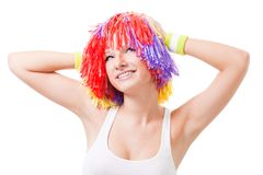 Woman cheer leader with color hair. Made of pompoms Stock Image