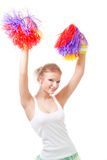 Woman cheer leader dancing. Woman cheer leader with pompoms dancing stock image