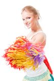 Woman cheer leader smile and shake pompoms. Happy blond woman cheer leader hold and shake pompoms smile stock images