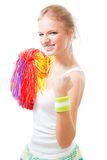 Woman cheer leader of winning team. Show yes gesture Stock Images