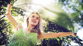 Woman Cheerful Happiness Freedom Carefree Nature Park Concept Stock Image