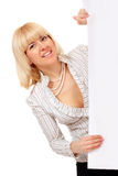 Woman cheerful holding blank white banner Royalty Free Stock Photography