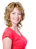 Woman with cheerful toothy smile Stock Image