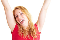 Woman cheering Royalty Free Stock Photo