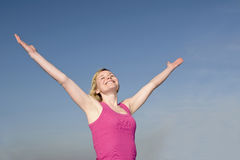 Woman cheering Stock Photo