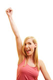 Woman cheering with fist Stock Photo