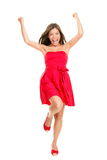 Woman Cheering In Summer Dress Royalty Free Stock Photos