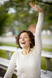 Woman Cheering At The Park Royalty Free Stock Photography
