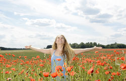 Woman cheering in poppy field. Happy young blond woman cheering in poppy field Royalty Free Stock Photo