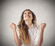 Woman cheering Royalty Free Stock Photography