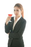 Woman cheering up with red wine Royalty Free Stock Photos