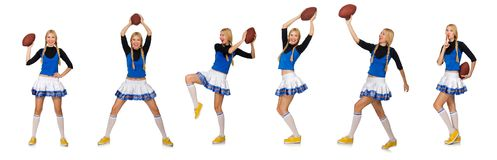 The woman cheerleader isolated on the white Royalty Free Stock Photos