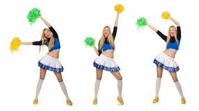 The woman cheerleader isolated on the white. Woman cheerleader isolated on the white Stock Photography