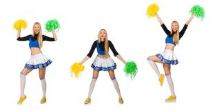The woman cheerleader isolated on the white Stock Photos