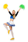 Woman cheerleader isolated on the white. The woman cheerleader isolated on the white stock photos