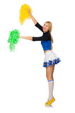 Woman cheerleader isolated on the white Stock Images