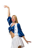 Woman cheerleader isolated on the white Royalty Free Stock Photos