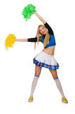 Woman cheerleader isolated on the white Stock Photo