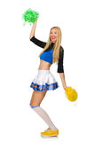 The woman cheerleader isolated on the white Stock Images
