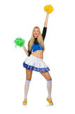 The woman cheerleader isolated on the white Royalty Free Stock Photography