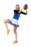The woman cheerleader isolated on the white Stock Image