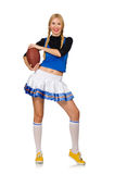 The woman cheerleader isolated on the white Royalty Free Stock Images