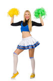 The woman cheerleader isolated on the white Stock Photo