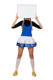 The woman cheerleader isolated on the white Royalty Free Stock Photo