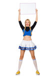 Woman cheerleader isolated on the white Royalty Free Stock Photography
