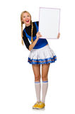 Woman cheerleader isolated on the white Stock Image