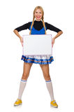 The woman cheerleader on the white Royalty Free Stock Images