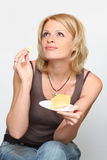 Woman and cheese. She is beauty woman and cheese Stock Image