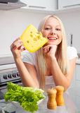 Woman with cheese royalty free stock photography