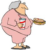 Woman With A Cheeseburger And Soda. This illustration depicts a chubby woman in sweats holding a large cheeseburger and soda stock illustration