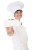 Woman chef, baker or cook showing blank card Stock Photography