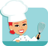 Woman Chef Cartoon Baking Illustration. Illustration of a professional redhead cartoon chef girl, wearing a bakery coat and toque, holding a wire Whisk with her Royalty Free Illustration