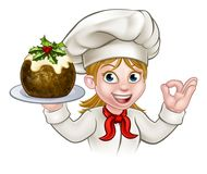 Woman Chef Holding Christmas Pudding. A woman chef cartoon character holding a Christmas pudding and doing a perfect gesture Royalty Free Stock Images