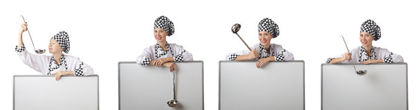 The woman chef in collages on white Stock Image