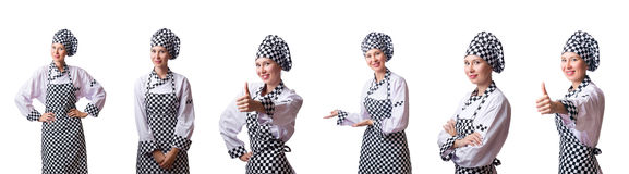 The woman chef in collages on white Stock Photo