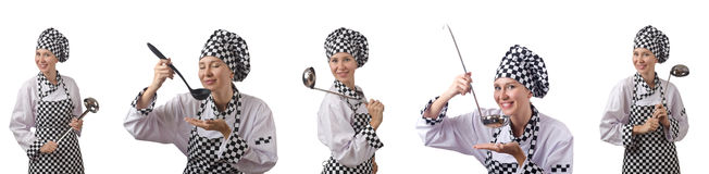 The woman chef in collages on white Royalty Free Stock Photos