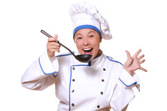 Woman chef cook stock photo