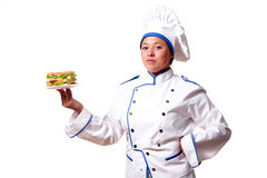 Woman Chef-Cook with sandwich Royalty Free Stock Photography