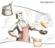Woman chef in the cooking process Stock Photography