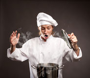 Woman chef cooking Stock Image