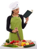 Woman chef cooking vegetables Royalty Free Stock Photos