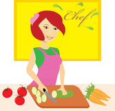 Woman Chef Cooking. Young woman chef cooking in the kitchen Stock Illustration